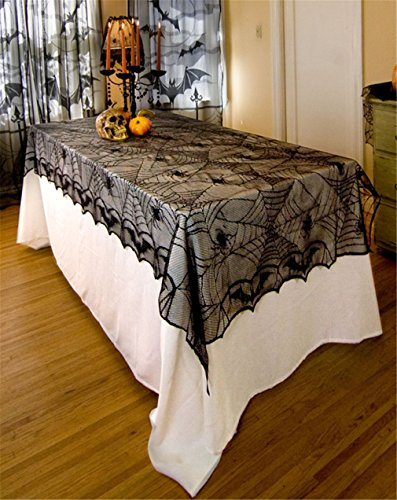 HENGSONG Halloween Decoration Black Lace Pumpkin Tablecloth Party Supplies (Table Decorations For Halloween Party)