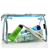 Waterproof Clear PVC Cosmetic Bag Organizer Makeup Bag Pouches Bag Cosmetic Bag Makeup Organizer for Travel (Blue)