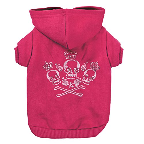 Zack & Zoey Crowned Crossbone Dog Hoodie with Skull & Crossbones and Rhinestones by Zack & Zoey