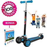 Scooter For Kids, Maxi Foldable Kick Scooter Deluxe, handlebars adjustability from age 5-12, Surface-safety Balance Technology, 2''widthX3 Wheels, 24 Months Guarantee, eBookGift ''Talented Kids Secrets''
