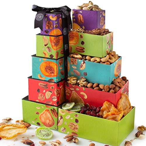 Oh! Nuts Christmas Nut & Dried Fruit Gift Towers, Gourmet Holiday Assortment Food Tower Sets Gifts For Men Women Prime Baskets Delivery Family Healthy Box Thanksgiving Valentines Day Delivered (Best Holiday Food Delivery)
