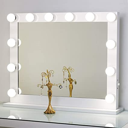 Toyswill White Hollywood Vanity Mirror,Wall Mounted Tabletop Lighting  Makeup Mirror,Studio Backstage Cosmetic Beauty Mirror,LED Dimmer Bulb  Included,
