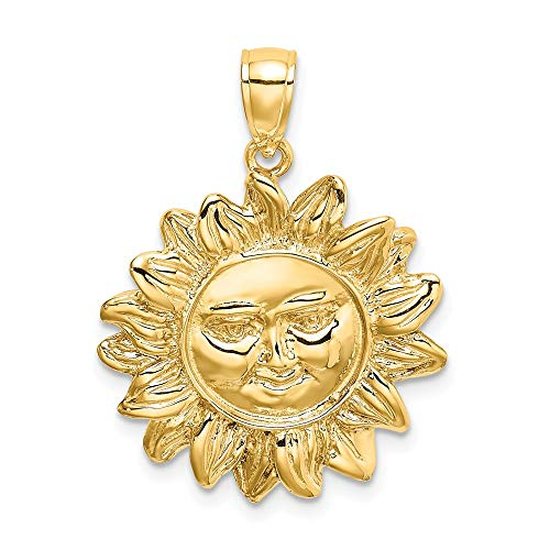 Gold Smiling Sun Charm - 14K Yellow Gold Smiling Sun Charm Necklace Pendant with 18