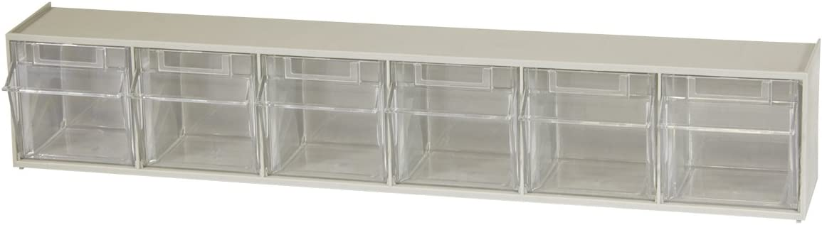 Akro-Mils 06706 TiltView Horizontal Plastic Storage System with Six Tilt Out Bins, 23-5/8-Inch Wide by 4-1/2-Inch High by 3-3/4-Inch Deep, Stone