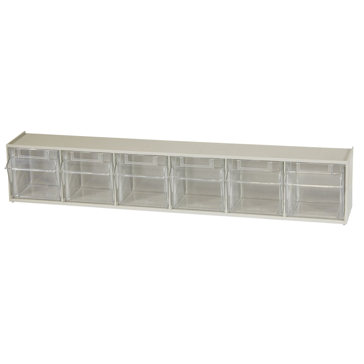 Akro-Mils 06706 TiltView Horizontal Plastic Storage System with Six Tilt Out Bins, 23-5/8-Inch Wide by 4-1/2-Inch High by 3-3/4-Inch Deep, Stone by Akro-Mils