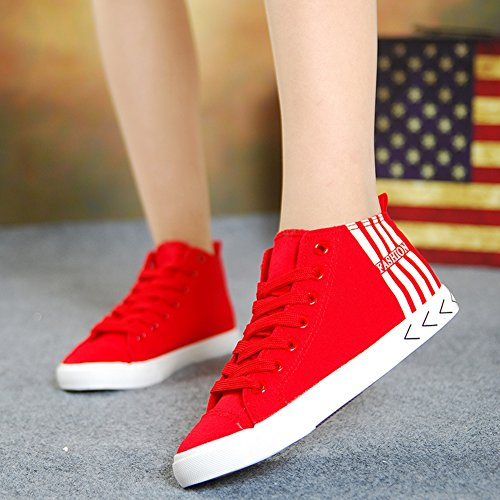 Easemax Womens Trendy Canvas Stripes Lace Up Round Toe High Top Sneakers Red 6Z3669C