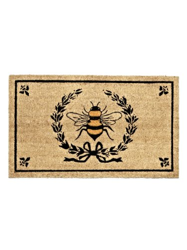 Abbott Coir Fibre Doormat, Bee in Crest, Natural Material
