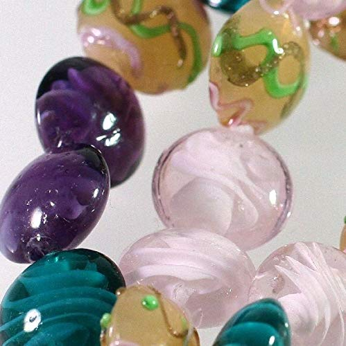 1 Strand Lampwork Glass Multi 15-17Mm Puffed Coin Bead Mix