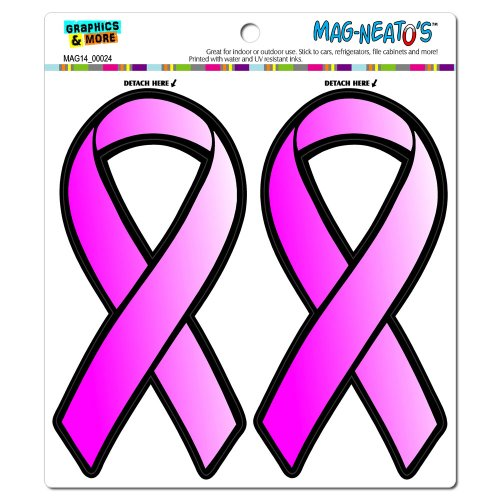 Graphics and More Pink Ribbon Breast Cancer Awareness - Find A Cure Automotive Car Refrigerator Locker Vinyl Magnet Set