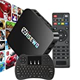 WISEWO Quad Core Smart TV Box Mini PC Streaming Media Player 4K 3D Wifi Streamer 1GB RAM 8GB ROM Google Android 5.1 Lollipop Amlogic S905X with Wireless Keyboard with Touchpad