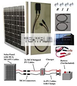 TEKTRUM 30 WATT 30W 12V HIGH-EFFICIENCY MONOCRYSTALLINE SOLAR CHARGING KIT - PANEL + 10A CHARGER + MOUNTING BRACKET + PV CABLES