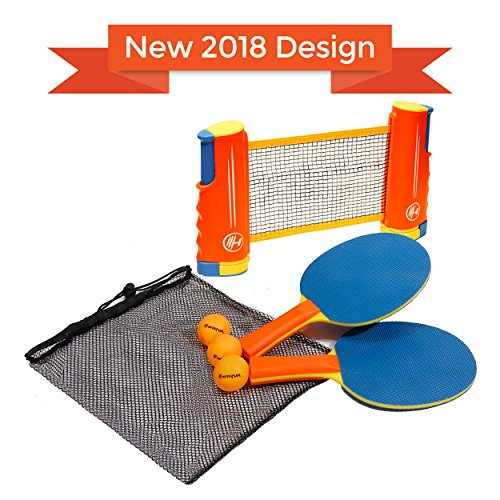 Find Discount Harvil Portable and Retractable Table Tennis Net Set To-Go with FREE Balls, Rackets, a...