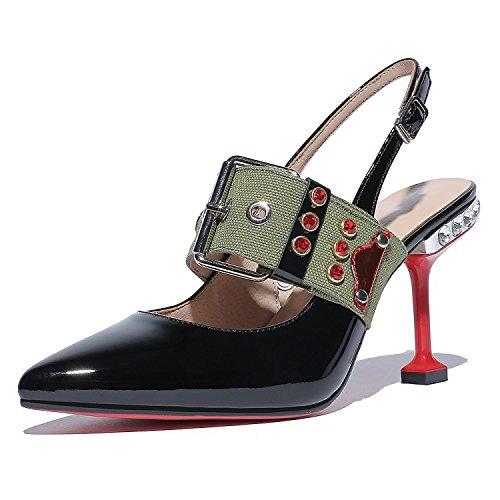 Jqdyl High Heels Weibliche Sandalen Sommer Stiletto Wild Damenschuhe  34|Black 6cm