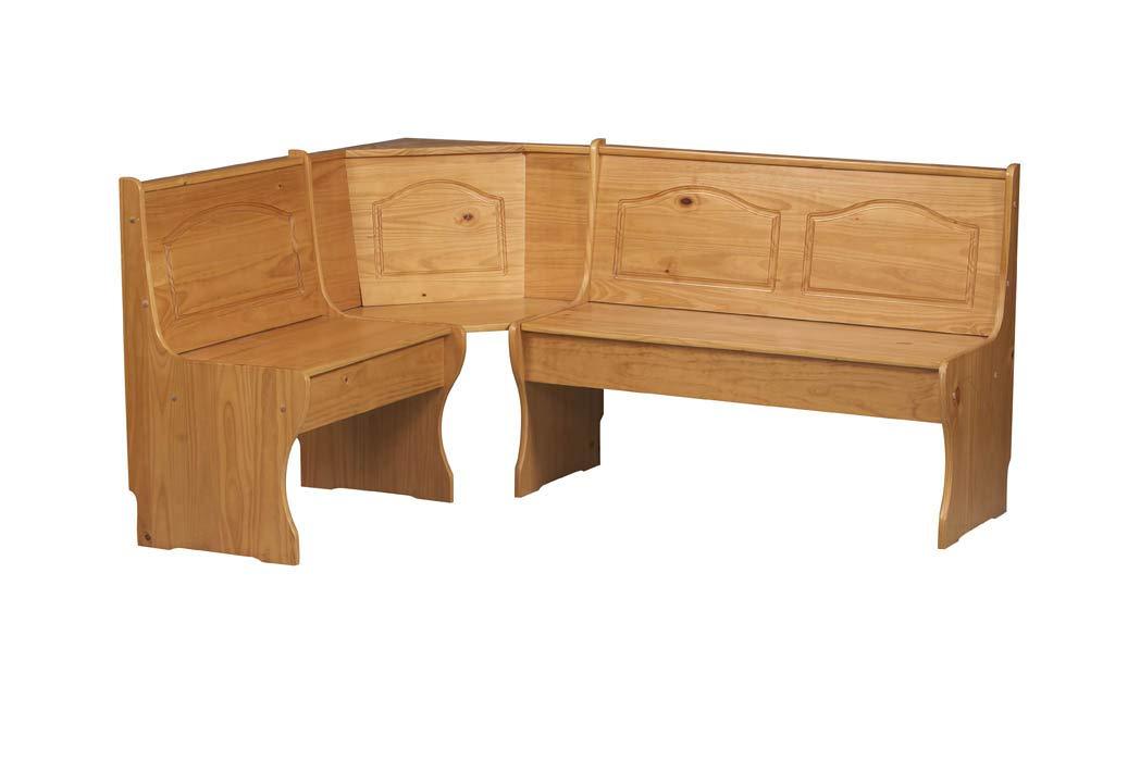Benjara Wooden Corner Unit with Hidden Storage and Curved Legs, Brown by Benjara