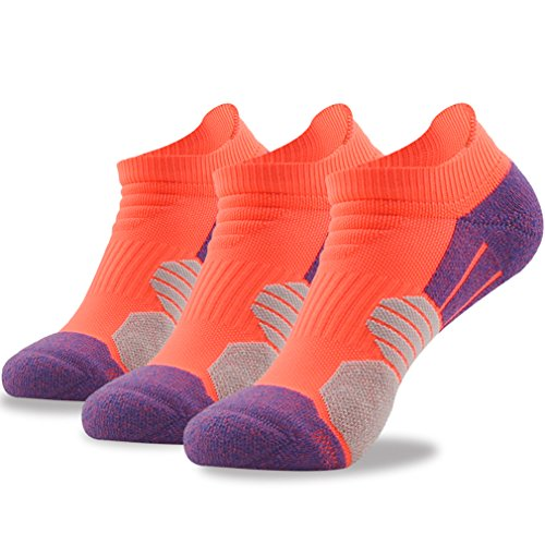 No Show Running Socks, NIcool Women's Girl's Lightweight Cushion Sweat-absorbent Low Cut Outdoor Camping Hiking Tennis Sports Casual Socks, Father's Day Gifts, 3 Pairs, Orange