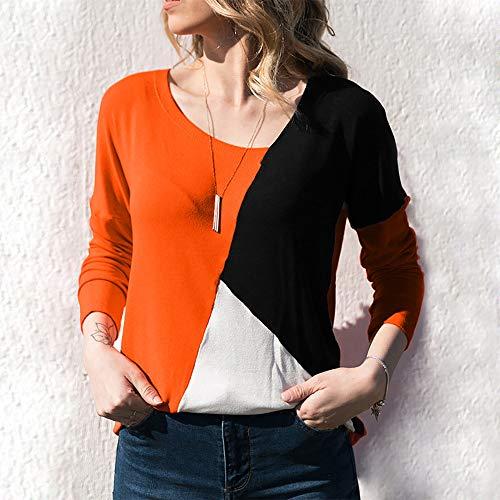 ❤️ Blusa Block Mujer Patchwork Larga Color Moda Camiseta Casual Tops O Naranja Manga neck Para Manadlian OBOfqr