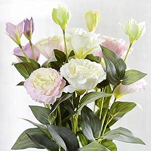 HATABO Christmas Fake Flower Rieger Begonia 1PC 2018 European Artificial Flower 3 Heads Fake Eustoma Gradiflorus Lisianthus Christmas Wedding Party Home Decorative (Random) 38
