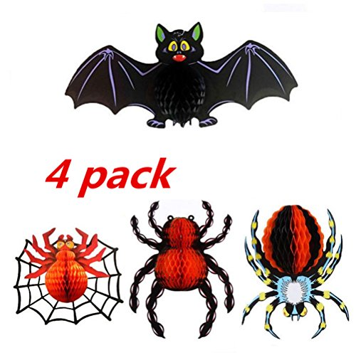 GZQ Halloween Décor Set of 4 Realistic Looking Spooky Hanging Decoration for Halloween