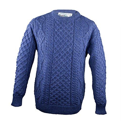 100% Pure New Wool Irish Springweight Aran Sweater, Denim, Large (New Wool Cardigan)