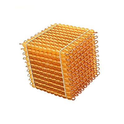 Montessori Material Golden Beads Cubes Thousands of Beads Intro to Decimal Quantity Mathematics Learning Aids Kids Toy: Toys & Games