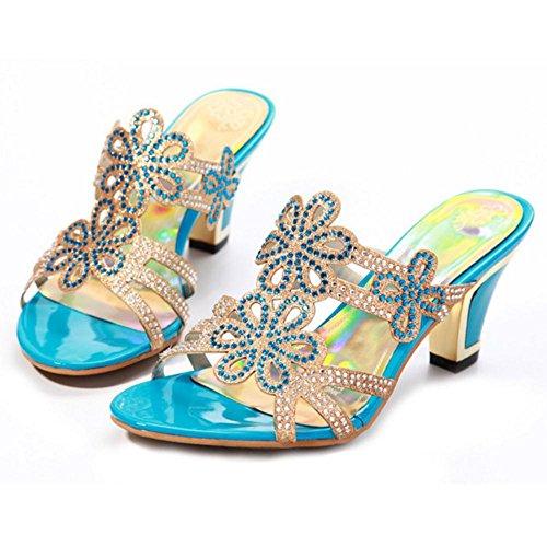 Coolcept Women Slip On Sandals Shoes Blue NzvyENnhQ