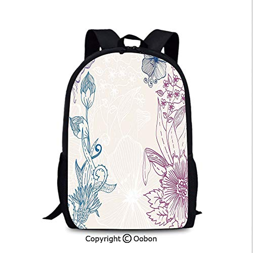 Women's Anti Theft Backpack, Flower Field Beauty Blooms in Spring Petals Artsy Graphic, School Bag :Suitable for Men and Women, School, Travel, Daily use, etc.Teal Lilac Dried Rose]()