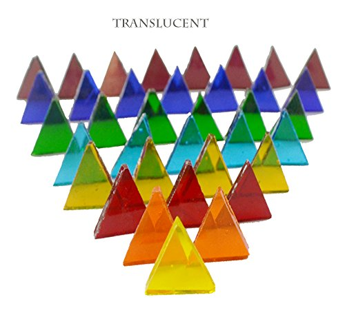 Lanyani 700 Pieces Stained Glass Triangle Mosaic Tiles Cathedral Glass Translucent Assorted Bright Colors 1.1lb/500g by Lanyani