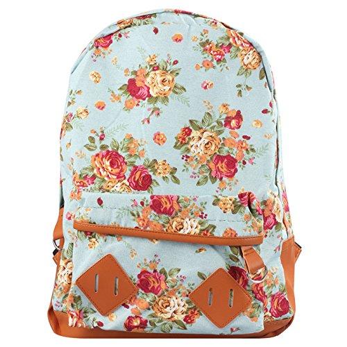 Women Girl Canvas Rucksack Flower Backpack School Book Shoulder Bag Excellent 5 coler beige,pink,blue,brown,black