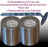Gel + Ethanol Fire-Places 2 Stainless Steel Fuel Cans 0.5L. With Ceramic Wool, Energy-Saving Plates And 1 Flame Killer
