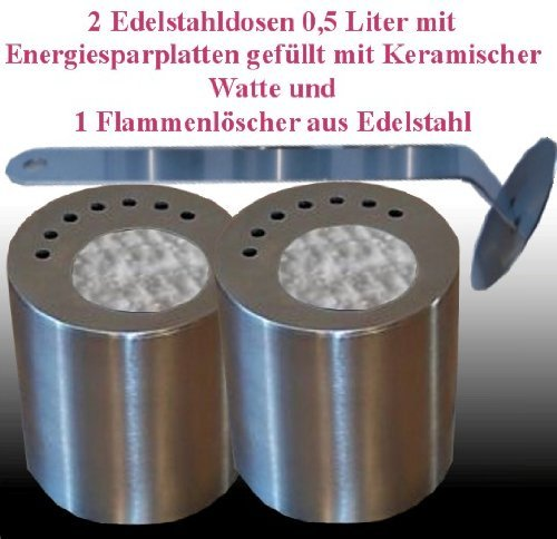 Gel + Ethanol Fire-Places 2 Stainless Steel Fuel Cans 0.5L. With Ceramic Wool, Energy-Saving Plates And 1 Flame Killer by Gel + Ethanol Fire-Places
