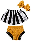 Kids Baby Girls Stripe Crop Tops+ Tassel Shorts Pants +Headband Outfits Sunsuit
