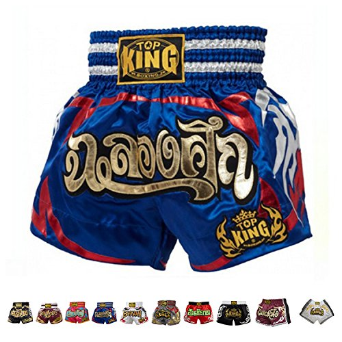 Celebration Short - Top King Boxing Muay Thai Shorts Normal or Retro Style Size S, M, L, XL, 3L, 4L (Blue Celebration M)