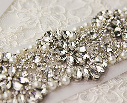 SoarDream Bridal Crystal Rhinestone Wedding Dress Sash Belt With Champagne Ribbon