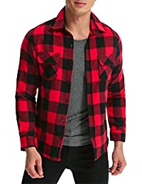 Men' Shirt Long Sleeve Plaid Flannel Slim Fit Button Down Check Tops