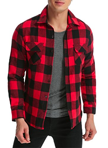 MODCHOK Men's Long Sleeve Plaid Shirts Button Down Stretch Flannel Tee Tops Red&Black (Red Flannel)