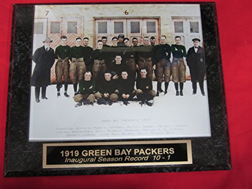 - 1919 Green Bay Packers Engraved Collector Team Plaque w/8x10 COLORIZED Photo RARE INAUGURAL SEASON!!