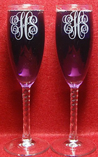 Aaron's Etching 2 Personalized Etched Monogram Toasting Champagne Wedding Flutes Glasses ()