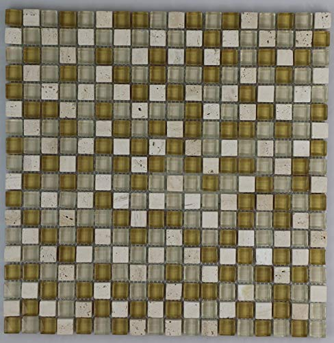 GMB Series .58X.58 Glass/Travertine Mosaic Beige/Gold Mix, 12x12 ()