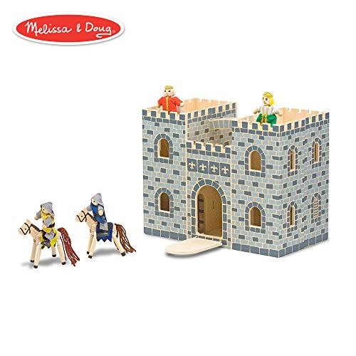 Melissa & Doug Fold & Go Wooden Castle (Pretend Play Gray Dollhouse With Wooden Play Figures, Horses, Furniture, 12 Pieces)