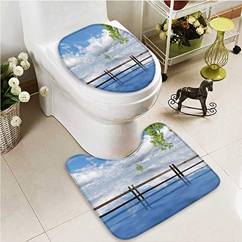 (Printsonne 2 Piece Anti-slip mat set Summer Breeze Anti-slip Water Absorption)