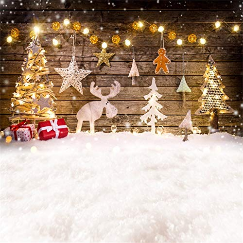 Laeacco Christmas Backdrop Vinyl 8x8ft Rustic Wooden Wall Bright Xmas Tree Stars Gifts Reindeer Honeycomb Xmas Tree Light Decors White Snowfield Background Xmas Party Banner Child Baby ()