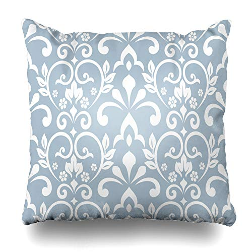 DIYCow Throw Pillow Covers Damask Blue Pattern Baroque Abstract Unusual Antique Drapery Floral Design Luxury Home Decor Pillowcase Square Size 18 x 18 Inches Zippered Cushion Case