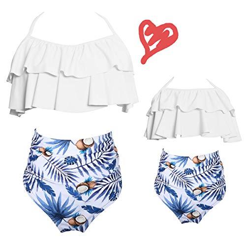 b5c4738099d 2Pcs Mommy and Me Matching Family Swimsuit Ruffle Women Swimwear Kids Children  Toddler Bikini Bathing Suit