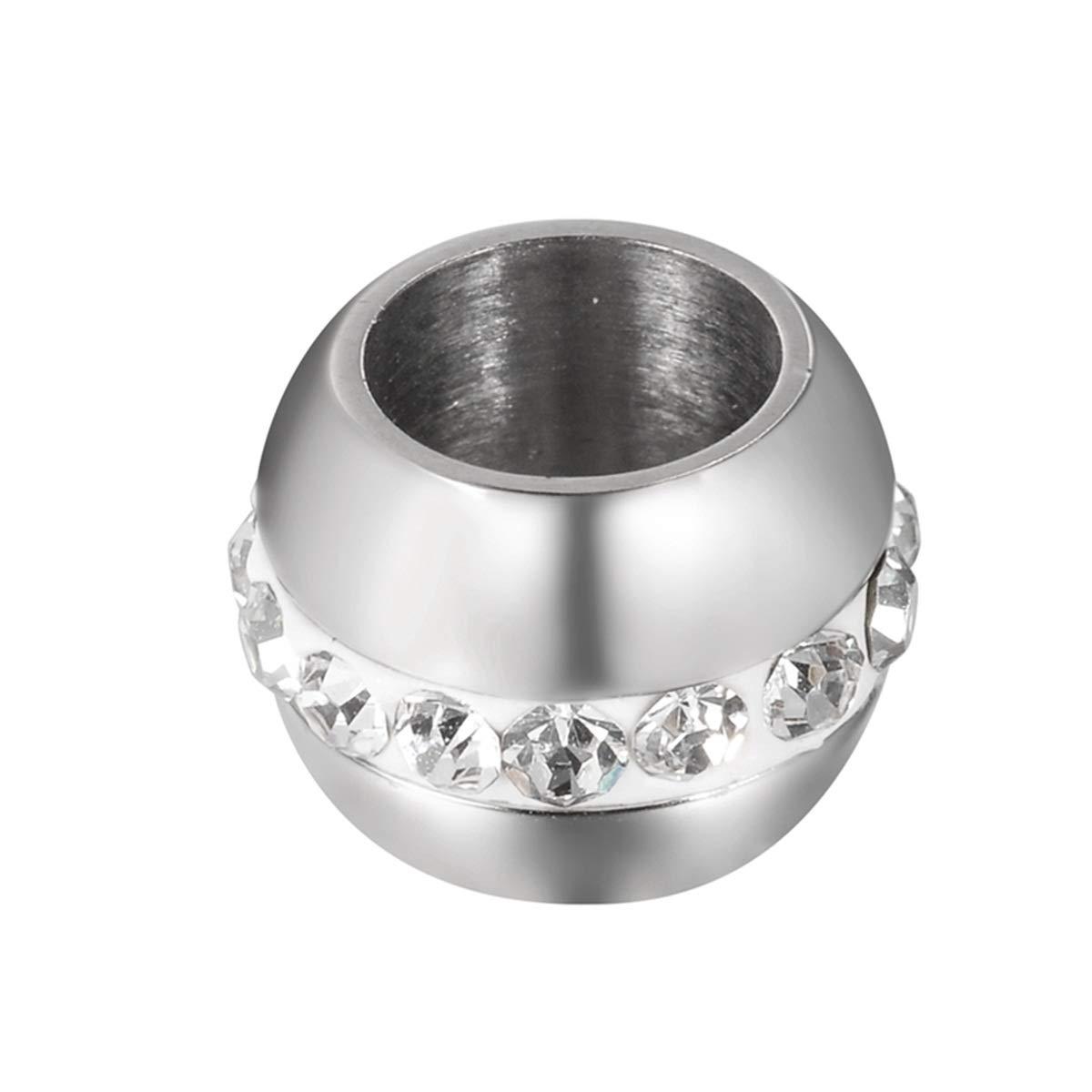 Perlen mit groß em Loch, Silberfarben und Strasssteinen, fü r Schmuckherstellung, 1 Stü ck Honglang