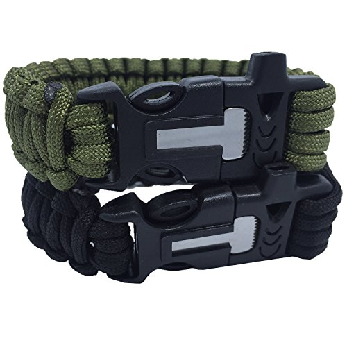 Fengbao Outdoor Survival Paracord Bracelet with Fire Starter Scraper Whistle Kits, Set of 2 (How To Crochet Pdf)