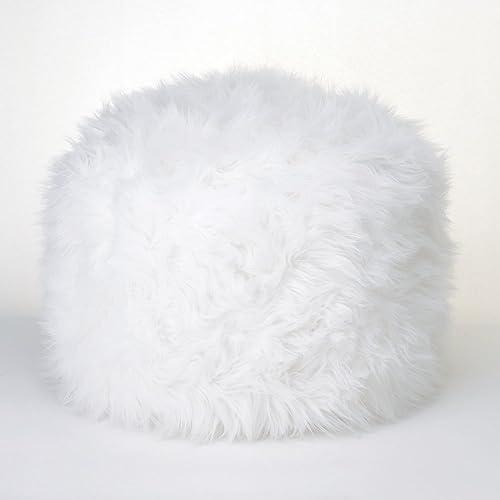 Koehler Home Decor Fuzzy Ottoman Pouf White