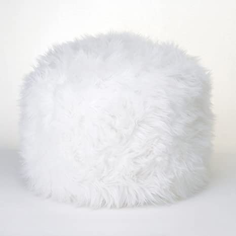 Miraculous Fuzzy White Ottoman Pouf Machost Co Dining Chair Design Ideas Machostcouk