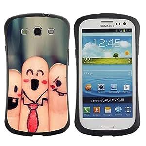 Paccase / Suave TPU GEL Caso Carcasa de Protección Funda para - Fingers Faces Funny Drawing Smiley Tie Art - Samsung Galaxy S3 I9300