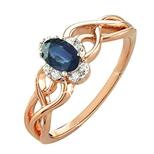 0.49 Ct. Natural White Diamond & Blue Sapphire Engagement Ring Split Shank In 14K Rose Gold For Women