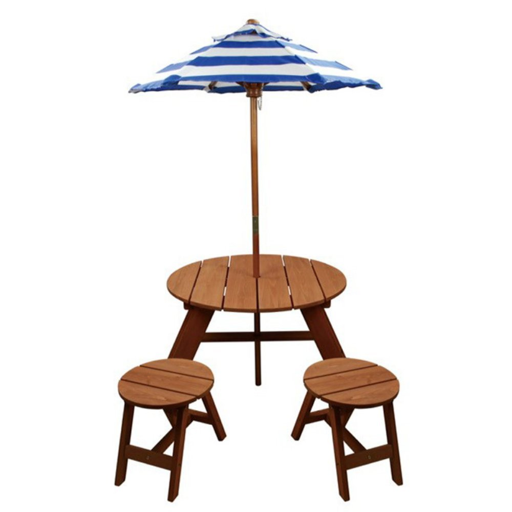 Home Wear Wood Round Table w/Umbrella and 2 Chairs Patio (4 Piece), Red Wood